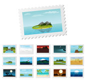 Post stamps with detailed nature landscapes. Vector illustration Royalty Free Stock Photography
