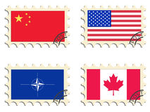 The post stamps. Flags Stock Photo