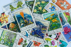 Post stamps with flowers Royalty Free Stock Image