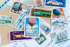 Post stamps and letters. Collection of post stamps and old letters royalty free stock photography