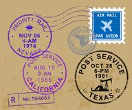 Post stamps set. Set of USA post stamps symbols - nevada, california and texas Stock Images