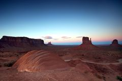 Post Sunset in Monument Valley at the Famous Butte Royalty Free Stock Photo