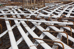 Post tension system, concrete reinforcement with tension cables in the structure of beam, system bridge gird floor, floor building. Under construction site Stock Photography