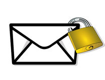 Post to lock. Safety Correspondence Royalty Free Stock Image