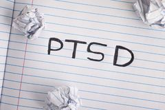 Post Traumatic Stress Disorder. Abbreviation PTSD on notebook sheet with some crumpled paper balls on it. Close up Stock Photo