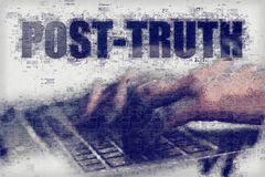 Post-truth or post-factual concept. Shaping public opinion by appealing to emotion and personal belief Stock Photo