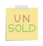 Post unsold. Design of a post with push pins forming the word unsold Stock Photo
