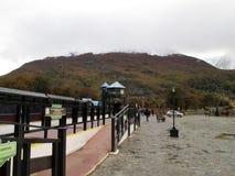 Post Ushuaia van Ferrocarril de Zuidelijke Fueguino Stock Afbeeldingen