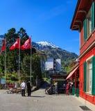 Post van de kabelspoorweg van Stanserhornbahn in de stad van Stans, Zwitserland Royalty-vrije Stock Fotografie