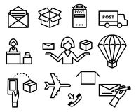 Post vector icons. Shipping and delivery set Stock Photos