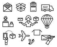Post vectorpictogrammen Het verschepen en leveringsreeks Stock Foto's