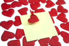 The post it w clothes pin and Valentine`s heart Stock Photos
