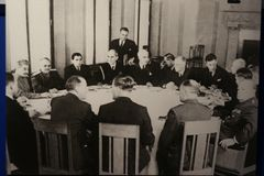 The post-war meeting. Photo from the archive of TASS: the image represents a post-war meeting of leaders of the major powers, such as Stalin, Churchill, Truman Stock Photo