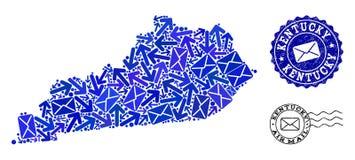 Post-Weisen-Collage der Mosaik-Karte der Staat Kentucky-und Schmutz-Stempel lizenzfreie abbildung