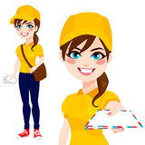 Post Woman Delivering Mail Stock Photos