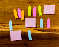 Post it is on the wood Stock Images