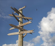 Post with wooden signboard directs to different cities of the world. Stock Photos