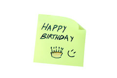 Post it with the word happy birthday seen frontally