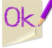 Post it with the word Ok Royalty Free Stock Images