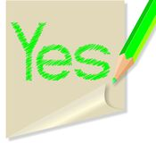 Post it with the word Yes Royalty Free Stock Photo