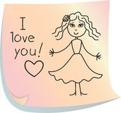 Post-it with words. Post-it with picture of girl with words I love you Stock Photography