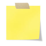Post it. Yellow  post it with tape on a white background Stock Photo