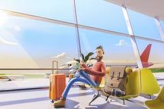Postać z kreskówki turysta siedzi z ręka telefonami w lotnisku ilustracja 3 d Mężczyzna czekać na jego lot w lotniskowym lobby ilustracji