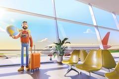 Postać z kreskówki turysta utrzymuje całego świat na palmie w lotnisku ilustracja 3 d Światowy podróży pojęcie royalty ilustracja