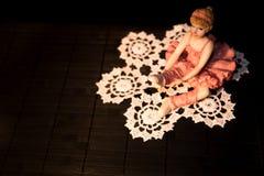 Postać balerina tancerz na szydełkowej koronce Obrazy Royalty Free