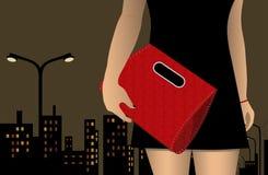 Postać dziewczyna w sukni z torbą na tle miasto Zdjęcia Stock