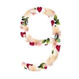 Postać dziewięć z kwiatami Zdjęcia Stock
