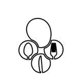 postać gulgocze z cutlery wśrodku ikony royalty ilustracja