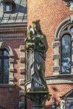 Postać Jeus i maryja dziewica na kolumnie w pałac a Obrazy Stock