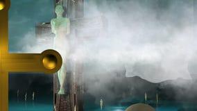 Postać krzyżowanie animacja z chmurami i piłkami royalty ilustracja
