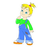 Postać z kreskówki dziewczyna Śmieszny dziewczyna chuligan Fotografia Stock