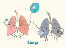 Postać z kreskówki istoty ludzkiej płuca Fotografia Royalty Free