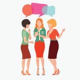 Postać z kreskówki kobiety z kolorową dialog mową gulgocze royalty ilustracja