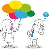 Postać z kreskówki: Mężczyzna i kobiety opowiadać Fotografia Stock