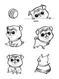 Postać z kreskówki mopsa psa pozy Śliczny zwierzę domowe pies w płaskim stylu psy ustawiający Śliczny pies mopsa traken Wektorowa royalty ilustracja