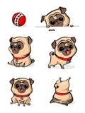 Postać z kreskówki mopsa psa pozy Śliczny zwierzę domowe pies w płaskim stylu psy ustawiający Śliczny pies mopsa traken Wektorowa zdjęcia royalty free