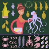 Postać z kreskówki owoce morza sprzedawca royalty ilustracja