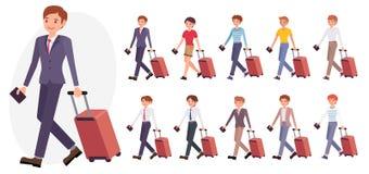 Postać z kreskówki projekta męski biurowy mężczyzna w kostium podróży służbowej ilustracji