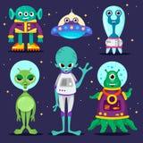 postać z kreskówki ustawiający obcy UFO royalty ilustracja