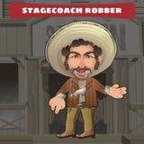 Postać z kreskówki w Dzikim zachodzie - stagecoach rabuś royalty ilustracja