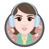 Postać z kreskówki, wektorowa rysunkowa portret dziewczyna słucha muzyka w hełmofonach, uśmiech ikona, majcher Kobiety duży brąz  Obraz Royalty Free