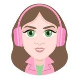 Postać z kreskówki, wektorowa rysunkowa portret dziewczyna w hełmofonach słucha muzyka, uśmiech emocja, ikona, majcher Kobiety br Obrazy Stock