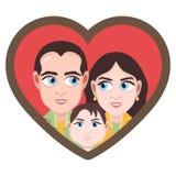 Postać z kreskówki, wektorowego rysunkowego portreta szczęśliwe rodzinne pary, ikona, majcher Kochający mąż, żona i dziecko z duż Zdjęcie Royalty Free