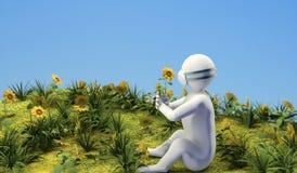 Postać z kwiatem royalty ilustracja
