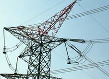 Posta ad alta tensione Pali elettrici di potere Fotografie Stock Libere da Diritti