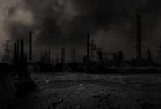 Posta-apokalyptiskt kriga scenariot Fotografering för Bildbyråer
